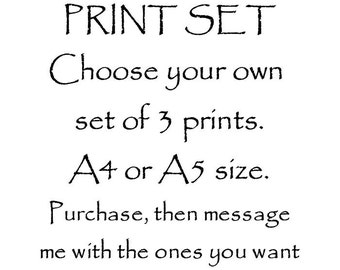 Print Set Offer, Good Value! Choose your own Set of 3, A5 A4 or A3 size - purchase, then message me with which 3 prints you would like