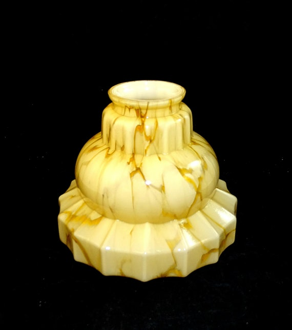 Art Deco Glass Light Shade Vintage Old Big Size Light Beige Color with Ornaments Glass Lamp Cylinder Shade 1960/'s