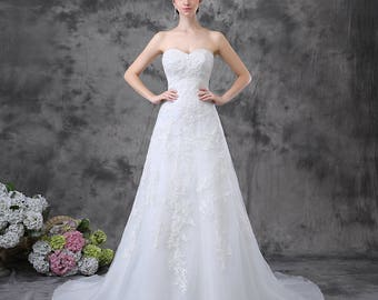 Strapless sweetheart organza with lace column gown