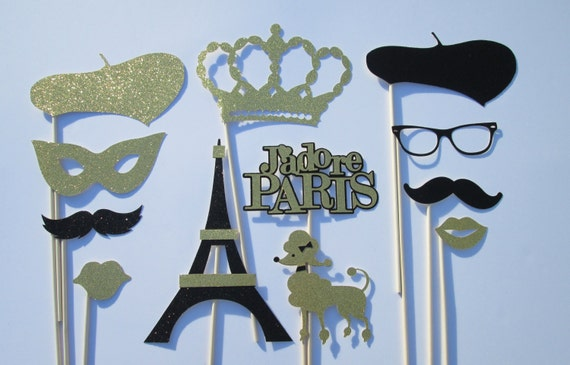 12 Pc Paris Party Theme Photo Booth Props Black Gold Great For