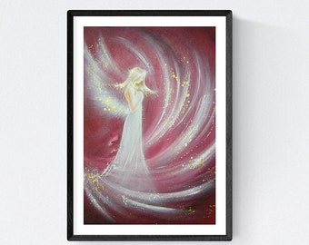 """Spiritual Angel Art Photo Print """"Angel Energy"""" Guardian Angels Pic Painting Wall Decor. Modern Abstract Healing Recovery Gifts Decoration"""