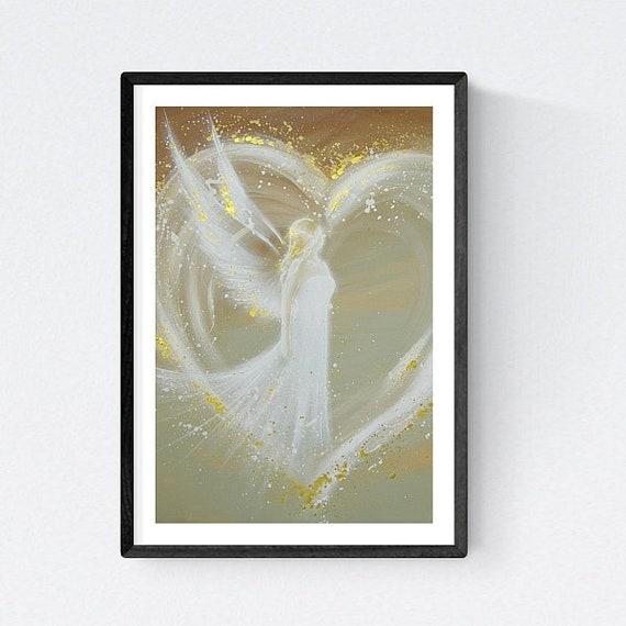 """Engel Künstlerbild /""""Im Traum getroffen/"""" Leinwanddruck abstrakt Yoga Wanddeko"""