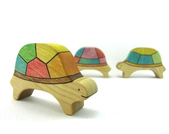Turtle Puzzle Toy - Wooden Toy - Wood Puzzle - Stacking Toys - Toy Animals - Waldorf Toy - Wood Toy - Wooden Animals - Natural - Handmade