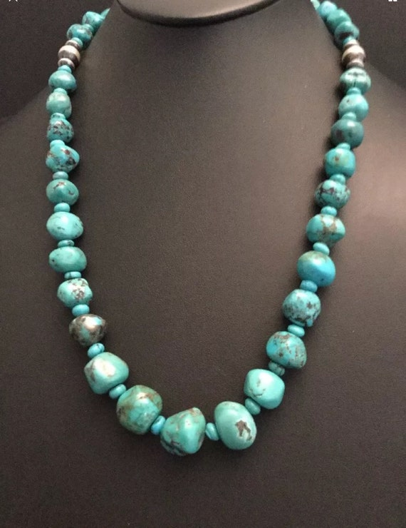 Stunning ! Navajo sterling silver 3 strand Turquoise bead necklace 23 inch