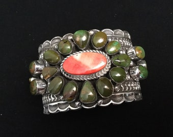Sterling silver green Turquoise spiny oyster cuff bracelet