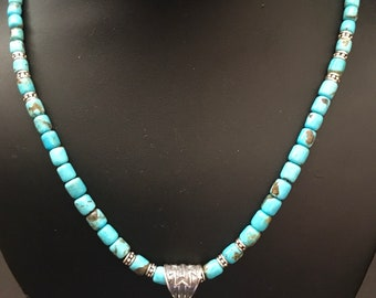 Native American sterling silver turquoise necklace with pendant