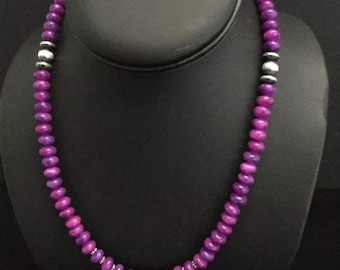 sterling silver sugilite bead necklace 20 Inch .