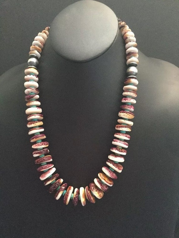 Spiny Oyster Shell Purple  Rondelle 8 MM Bead Sterling Silver Necklace 16 Inches