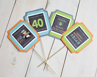 Image of: 40th Birthday This Kid Is 40 40th Birthday Centerpiece Table Centerpiece Photo Centerpiece Cheers And Beers To 40 Years 40th Party Decoration Etsy Kid Is 40 Party Etsy