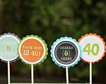 Image of: Paul Rudd This Kid Is 40 40th Birthday Party Decorations Milestone Birthday Cupcake Toppers 40th Cupcake Birthday For Him Modern Birthday Pinterest Kid Is 40 Party Etsy
