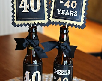 Cool Cheers And Beers Birthday Centerpiece Sticks 40Th Birthday Home Interior And Landscaping Oversignezvosmurscom