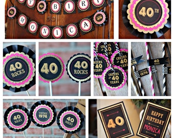 40TH BIRTHDAY DECORATIONS Ladies Birthday Decor 40th Party For Her 40 And Fabulous Rocks Hot Pink Black Gold