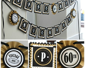 60TH BIRTHDAY PARTY Banner Adult Birthday Party Milestone Decorations Vintage 1959 Cheers To 60 Years Black And Gold