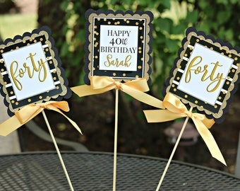 LADIES 40TH BIRTHDAY Decorations 40th Centerpiece Sticks Birthday For Her Party Decor Black And Gold