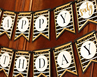 60TH BIRTHDAY DECORATIONS 60th Birthday Banner Happy Cheers To 60 Years Ladies For Her Black Gold