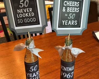 50TH BIRTHDAY CENTERPIECE 50th Party Decor Decorations Masculine Birthday Vintage Cheers And Beers Black Gray