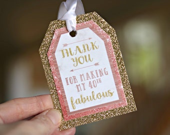 ROSE GOLD Womens Birthday Favor Tags Female Milestone 40th Party Decorations Gold Glitter Decor Cheers To 40 Years