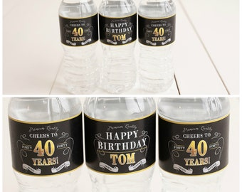 40th Birthday Party Water Bottle Labels Self Stick Milestone Decorations Vintage Dude Adult Decor