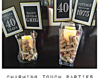 ADULT BIRTHDAY PARTY DecorationsMilestone 40th Birthday50th Birthday60th BirthdayBirthday Centerpiece Sticks Black Gold