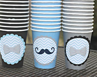 LITTLE MAN BIRTHDAY Bowtie Party Mustache Bash Cups Paper 1st Birthday Decor First Blue Gray And Black