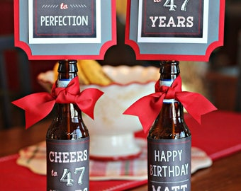40TH BIRTHDAY DECORATIONS 40th Party Beer Bottle Labels Wraps Centerpiece Birthday For Him Black Red