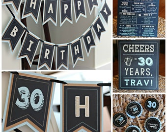 30TH BIRTHDAY PARTY Decorations 30th Birthday Banner Party Supplies Cheers To 30 Years Adult Black And Blue Light