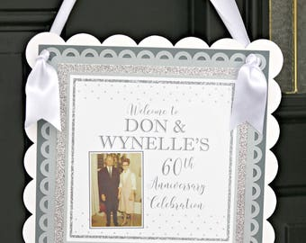 DIAMOND JUBILEE Welcome Sign Door 60th Wedding Anniversary Decorations Silver And White
