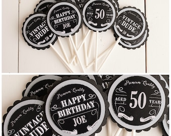 Masculine Birthday Party Cupcake Toppers Vintage Dude Milestone Decorations