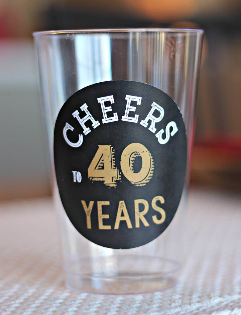 CHEERS TO 40 YEARS Birthday Party Beer Cups Wine Glass