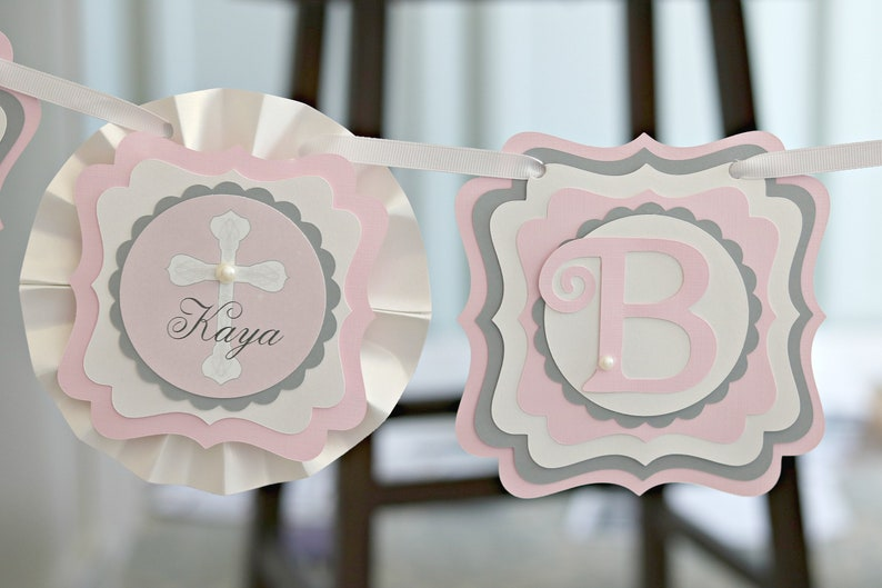 Favor Tags Centerpiece RELIGIOUS DECORATIONS Girl Baptism Girl Communion Holy Communion Pink and Silver Baptism Banner Welcome Sign