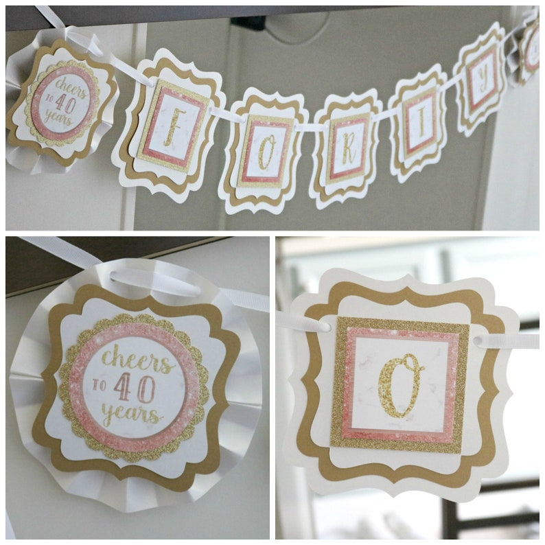 ROSE GOLD 40th Birthday Banner Ladies Decorations