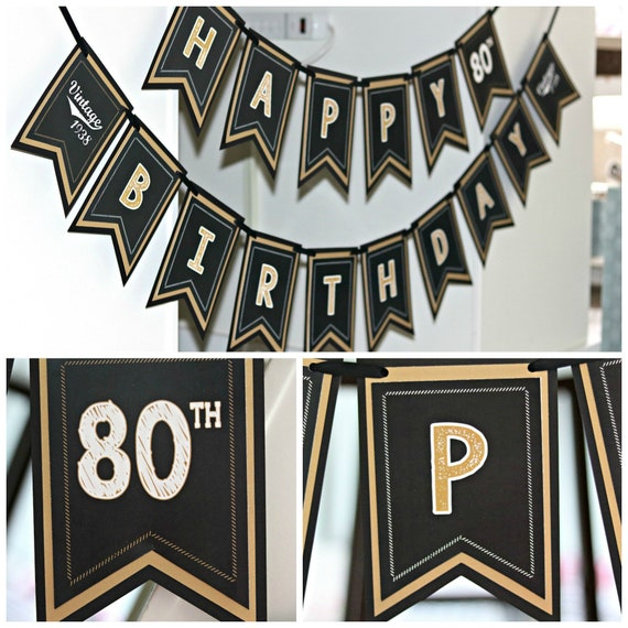 80TH BIRTHDAY PARTY Banner Happy Birthday Cheers To 80 Years