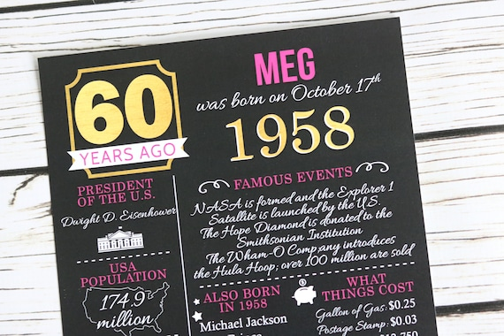 PRINTED 60th Birthday Poster Back In 1958 What Happened Decorations Hot Pink Black60th Party Decor Vintage