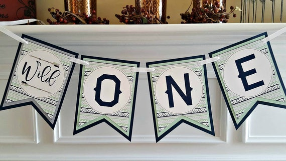 BOY WILD ONE Birthday Party High Chair Banner Wild One Decorations