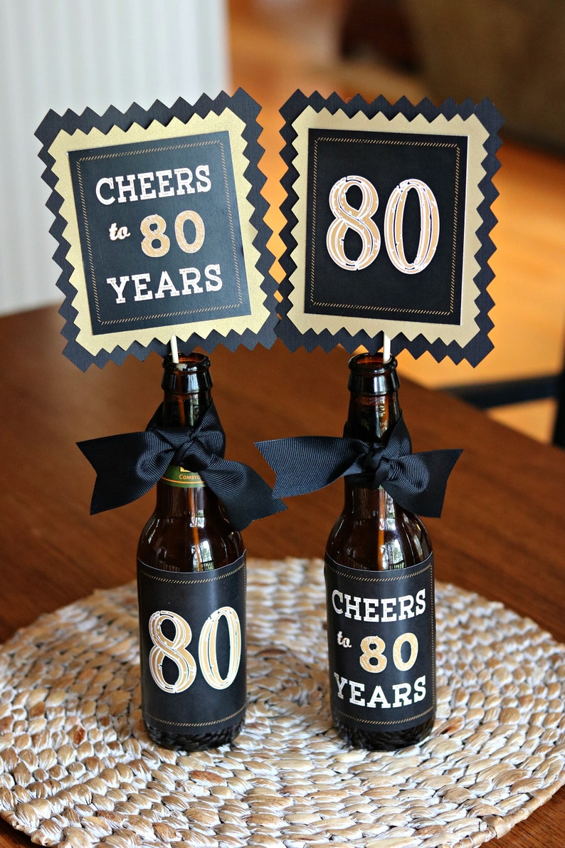 80TH BIRTHDAY DECORATIONS 80th Party Centerpiece Table Decorations Beer Bottle Labels Birthday For Him