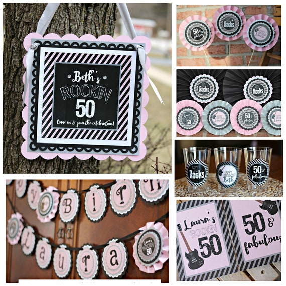 ROCKIN 50 Rocks Birthday Party Decorations Classic Rock N Roll 50th Banner Centerpiece Welcome Sign Black And Pink