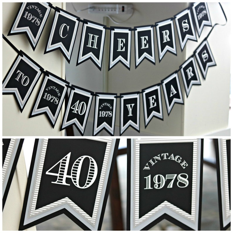 40TH BIRTHDAY PARTY Banner Happy Birthday 40th Party