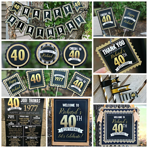 40TH BIRTHDAY PARTY Decorations 40th Party Banner Supplies Vintage Birthday Cheers To 40 Years Adult Black And Gold