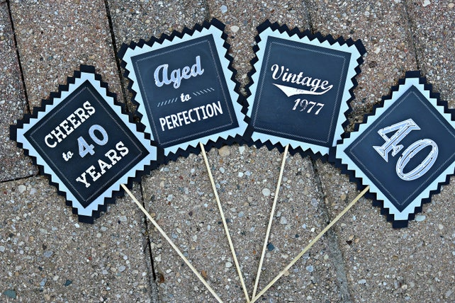 40TH BIRTHDAY DECORATIONS Printed Sign Welcome 40th Birthday Party Decorations Decor Vintage 1978 Black White