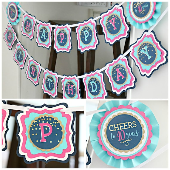 40th BIRTHDAY PARTY BANNER Party Decorations Happy Birthday 30th 50th Cheers To 40 Years Navy Blue And Pink