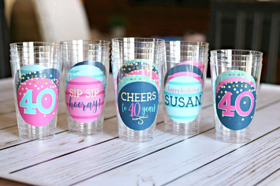 40th BIRTHDAY PARTY Decorations Party Cups Wine Sip Hooray Cheers To 40 Years Navy Blue And Hot Pink
