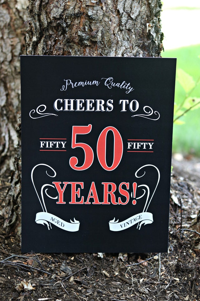 CHEERS TO 50 YEARS Sign Vintage Dude Adult Birthday Party Decorations 50th  Masculine Party Decor Black ...