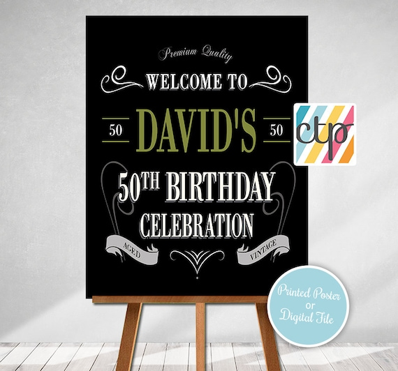 Vintage Dude Welcome Sign 50th Masculine Party Decor Adult Birthday Party Decorations Green Vintage Dude Birthday