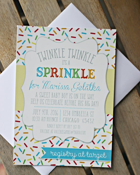 baby sprinkle invitation printed baby shower invite sprinkled with