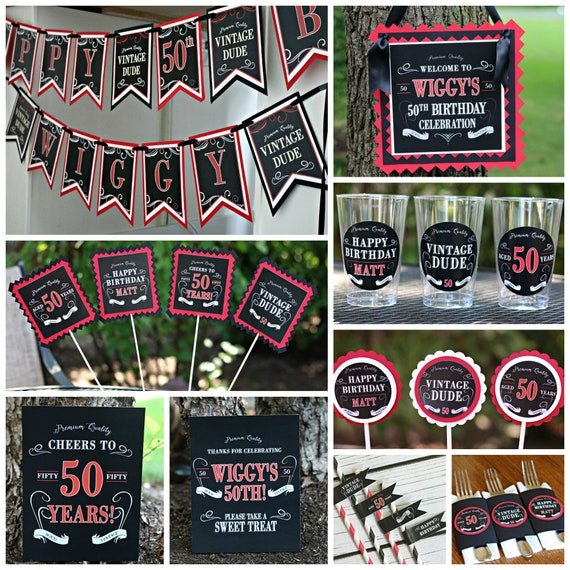 VINTAGE DUDE Adult Birthday Party Decorations Cheers To 50 Years Aged Perfection 50th Decor Black And Red