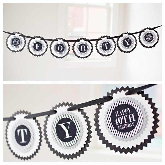 40TH BIRTHDAY PARTY decorations  Decorative Rosettes, Paper Fans