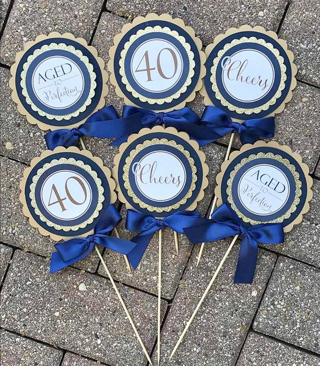 LADIES 40TH BIRTHDAY Decorations Birthday For Her Party Decor Navy Blue And Gold Cheers To 40 Years Vintage 1977 40th Centerpiece