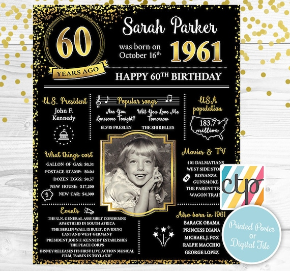 Born in 1961 60th Birthday Decorations 60th Birthday Poster 60s Personalized Gift Friend Gift,