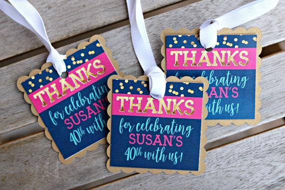 40th BIRTHDAY PARTY Favor Tags Party Decorations Ladies Birthday Female Womens Cheers To 40 Years Navy Blue And Pink