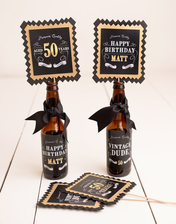 50th Birthday Centerpiece Beer Labels Milestone Decorations Vintage Dude Adult Party Decor Aged To Perfection
